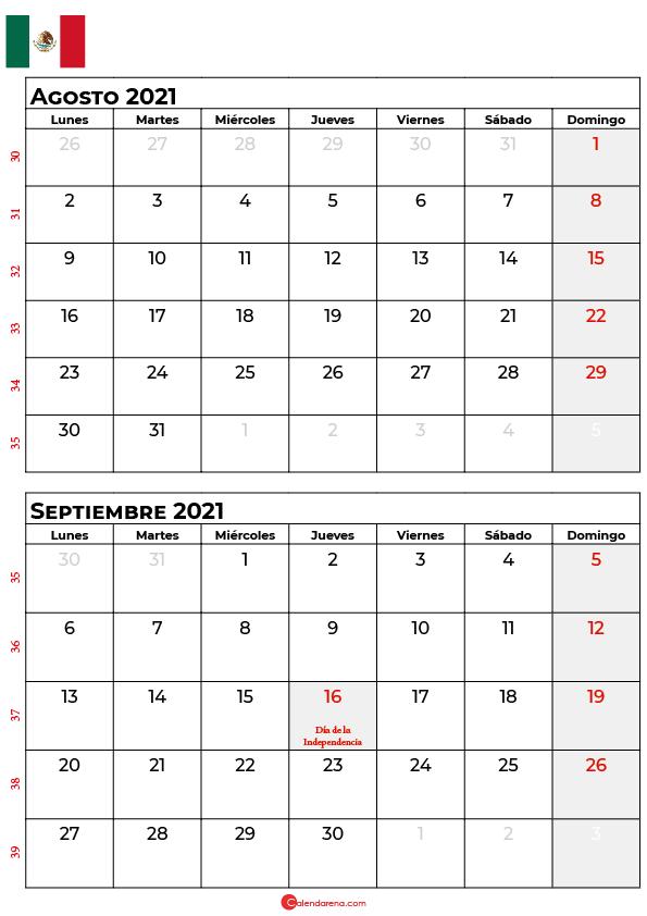 calendario agosto septiembre 2021 mexico
