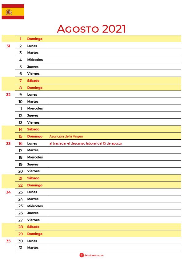 calendario de Agosto 2021 espana