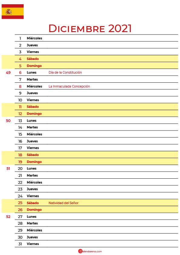 calendario de Diciembre 2021 espana
