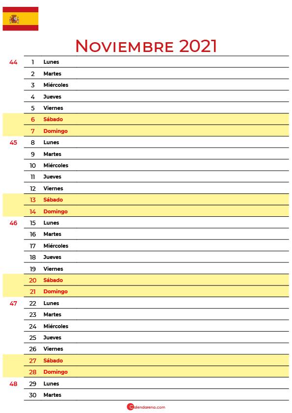 calendario de Noviembre 2021 espana