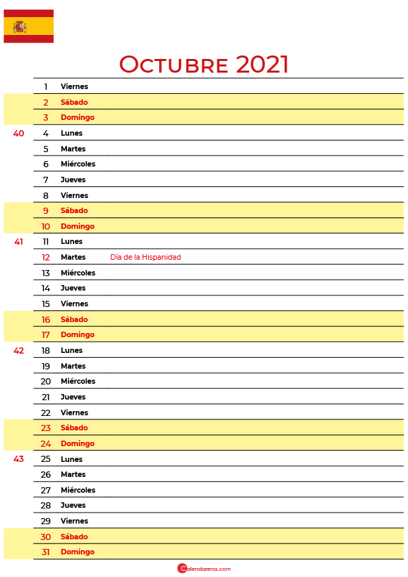 calendario de Octubre 2021 espana