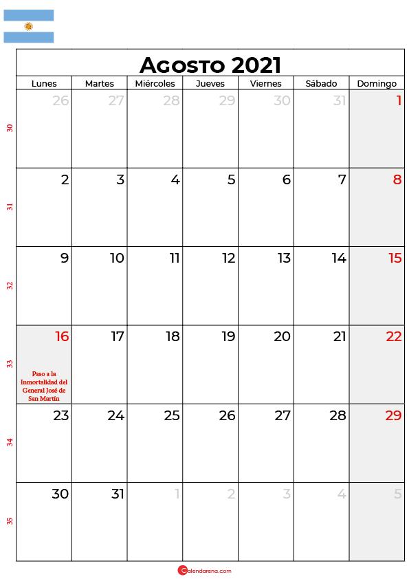 calendario de agosto 2021 argentina