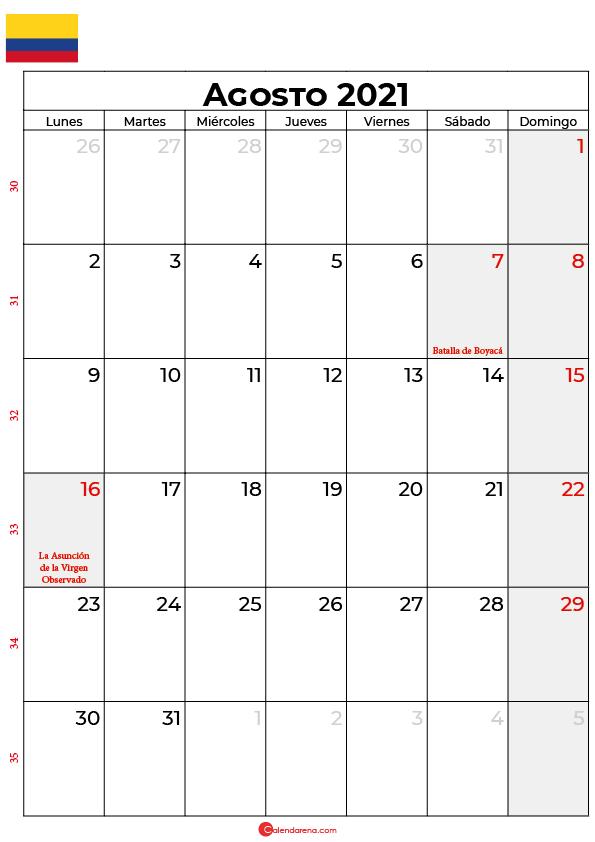 calendario de agosto 2021 colombia