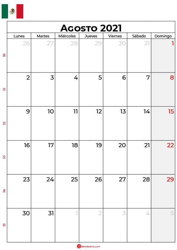 calendario de agosto 2021 mexico