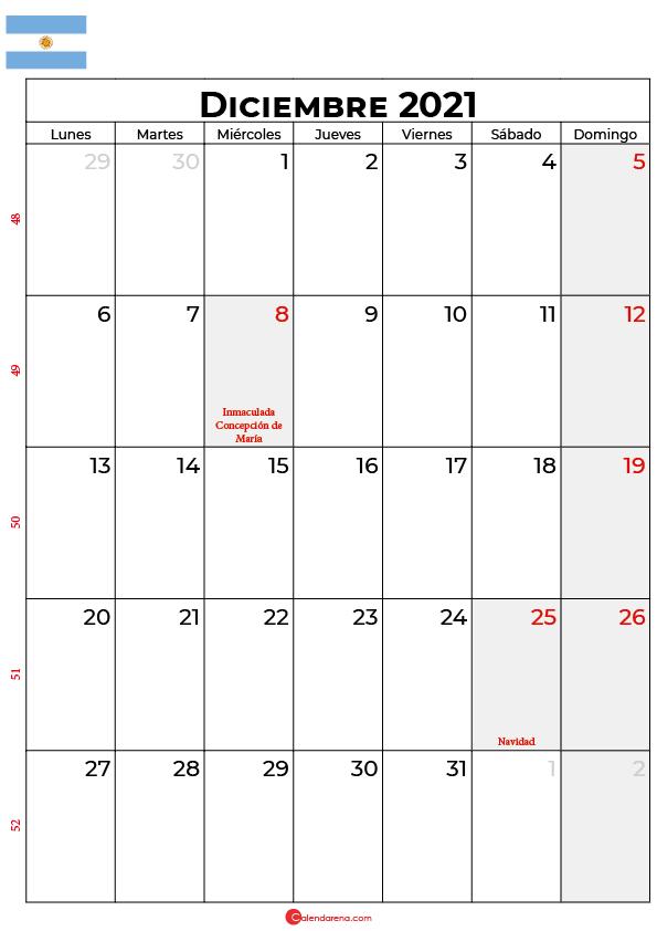 calendario de diciembre 2021 argentina