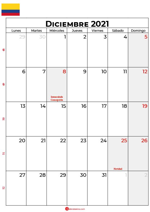 calendario de diciembre 2021 colombia