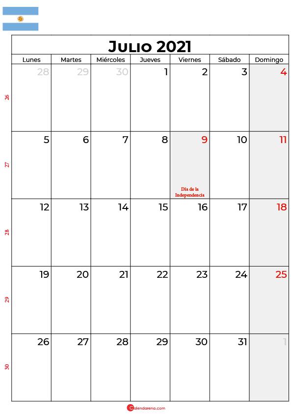 calendario de julio 2021 argentina