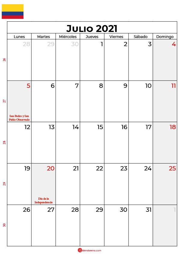 calendario de julio 2021 colombia