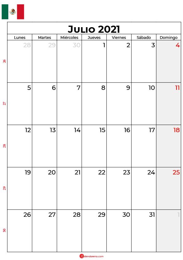 calendario de julio 2021 mexico