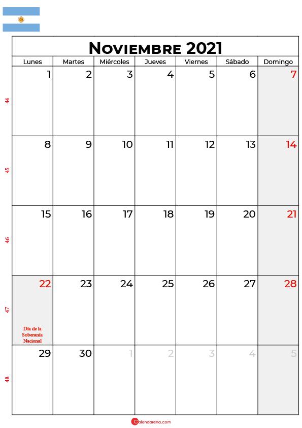 calendario de noviembre 2021 argentina