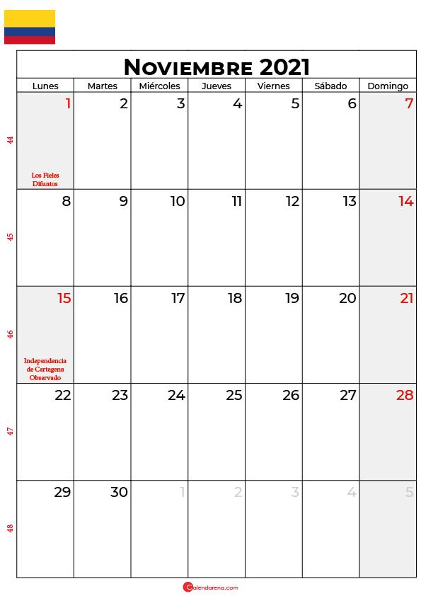 calendario de noviembre 2021 colombia