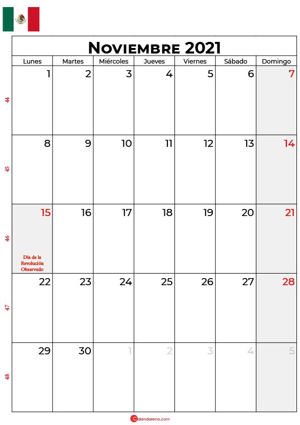 calendario de noviembre 2021 mexico