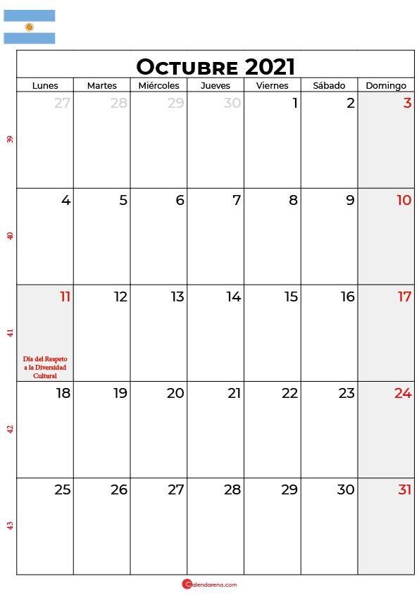 calendario de octubre 2021 argentina