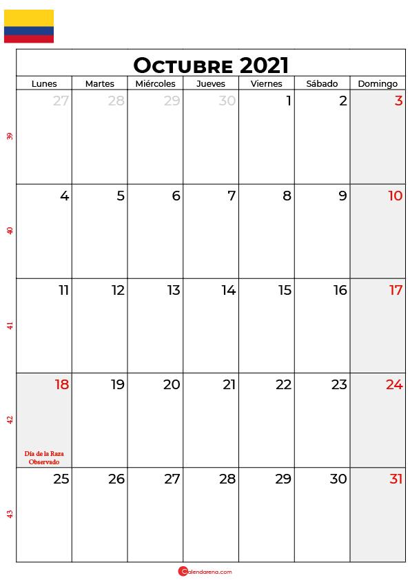 calendario de octubre 2021 colombia