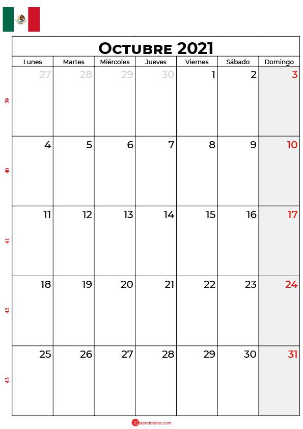 calendario de octubre 2021 mexico