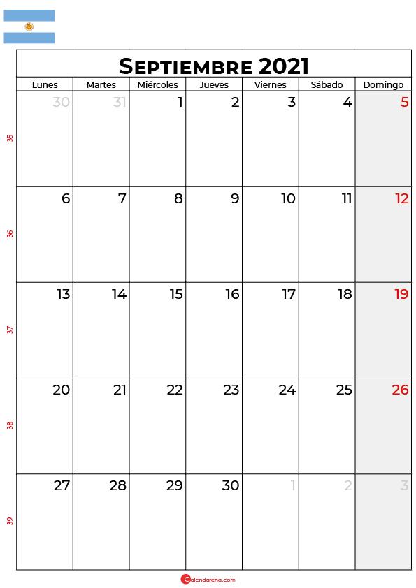 calendario de septiembre 2021 argentina