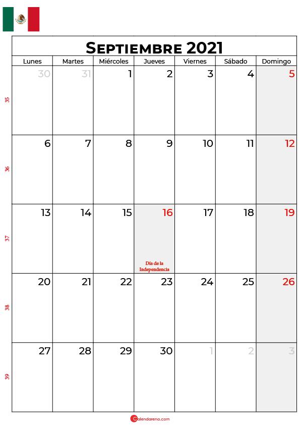 calendario de septiembre 2021 mexico