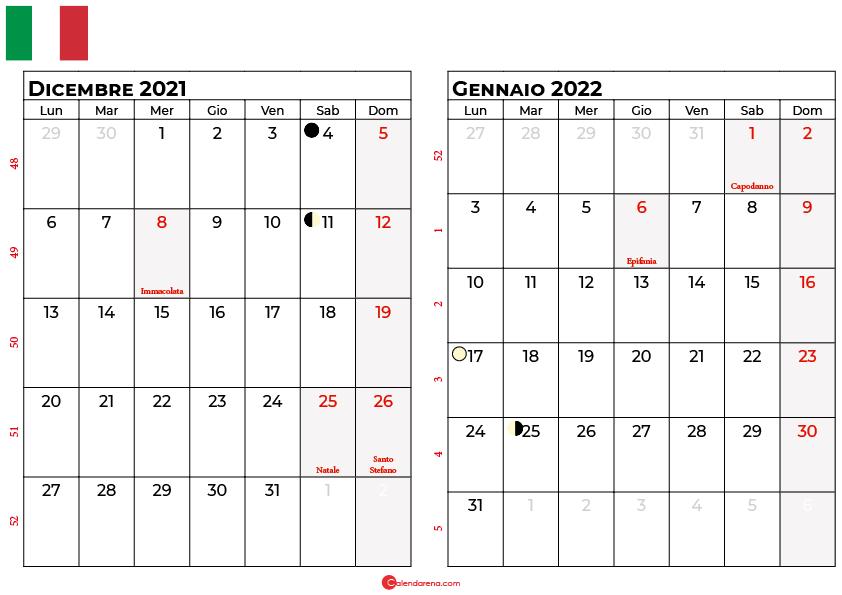 calendario dicembre 2021 e gennaio 2022