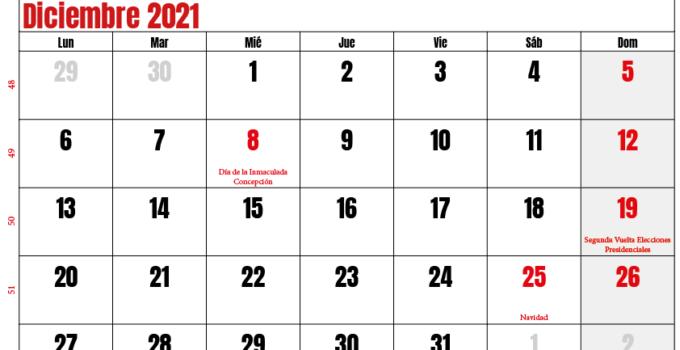 calendario diciembre 2021