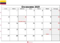 calendario diciembre 2021 colombia