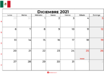 calendario diciembre 2021 mexico