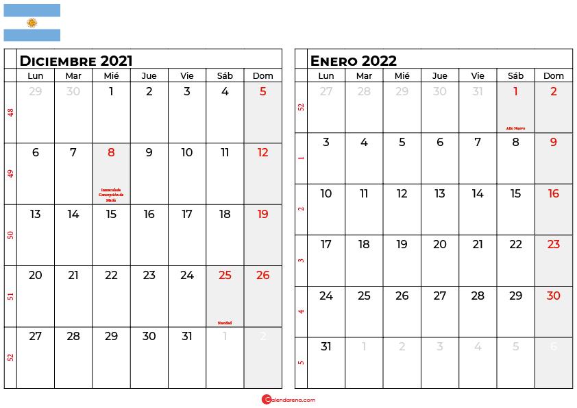 calendario diciembre enero 2022 argentina