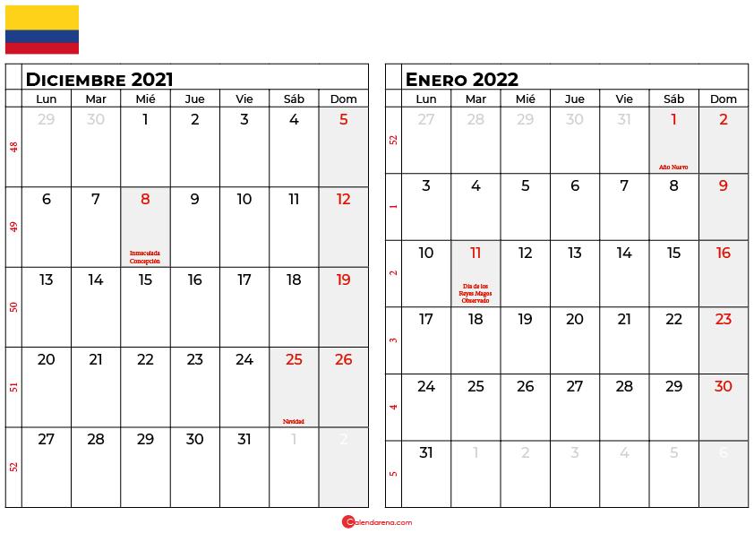 calendario diciembre enero 2022 colombia