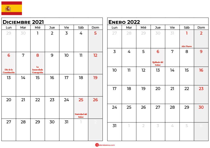 calendario diciembre enero 2022 espana