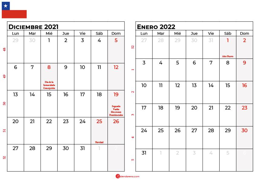 calendario diciembre y enero 2022 chilie