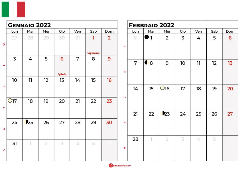 calendario gennaio febbraio 2022