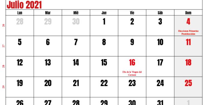 calendario julio 2021 chilie