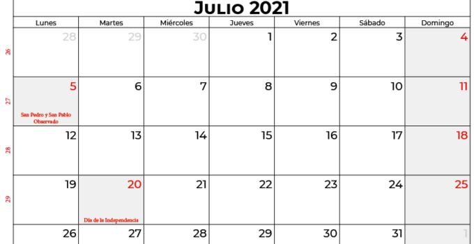 calendario julio 2021 colombia