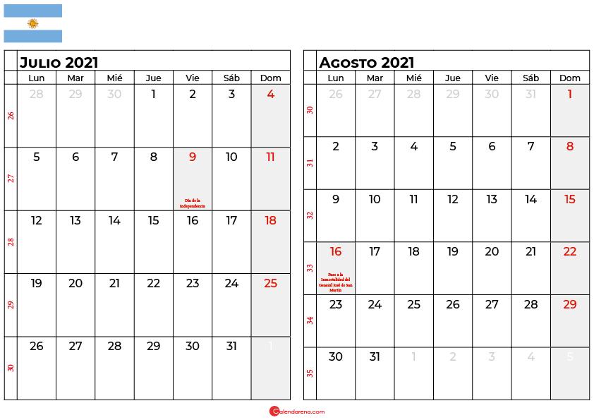 calendario julio agosto 2021 argentina