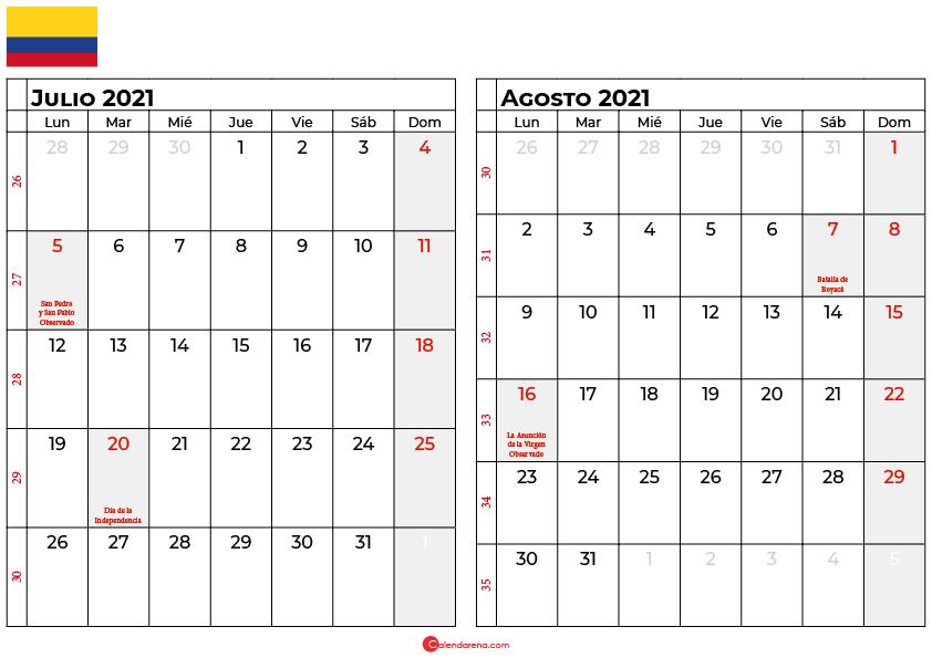 calendario julio agosto 2021 colombia