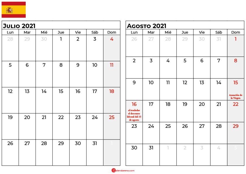 calendario julio agosto 2021 espana