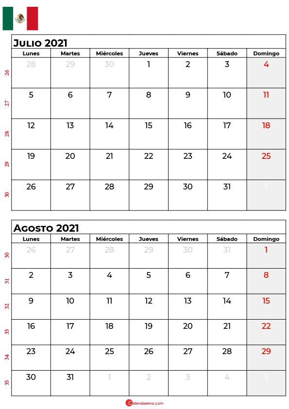 calendario julio agosto 2021 mexico