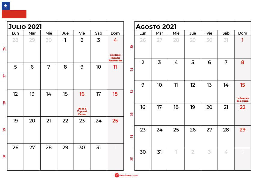 calendario julio y agosto 2021 chilie