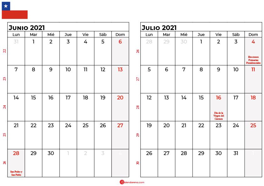 calendario junio y julio 2021 chilie