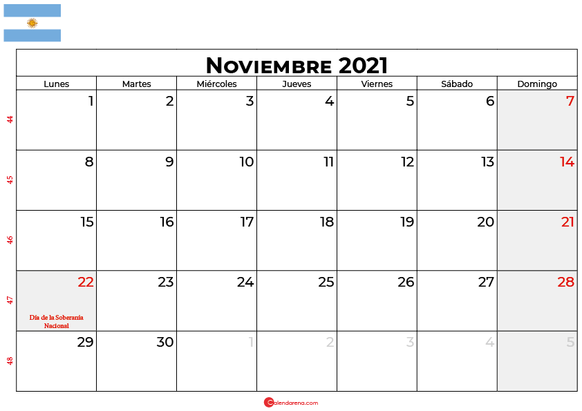 calendario noviembre 2021 argentina
