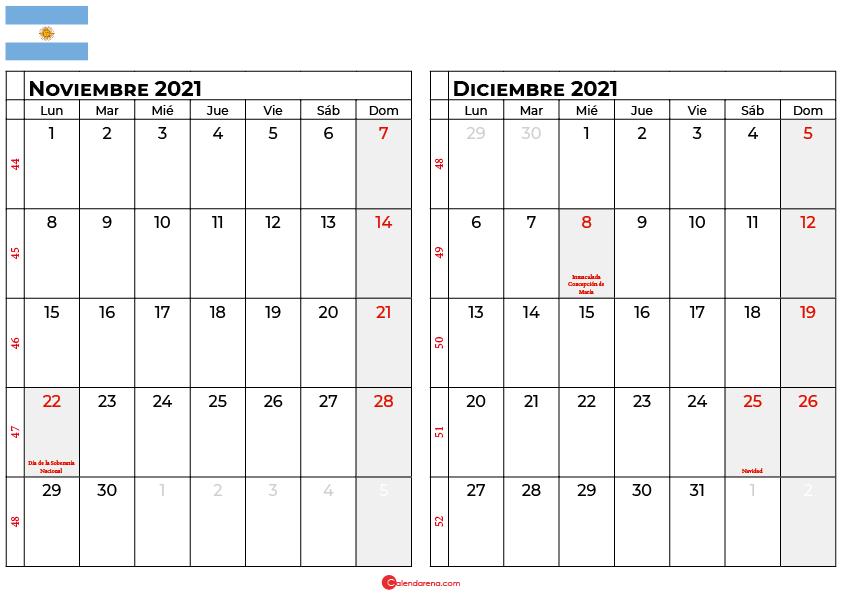 calendario noviembre diciembre 2021 argentina