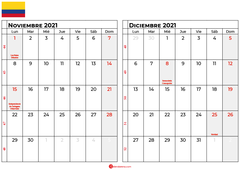 calendario noviembre diciembre 2021 colombia