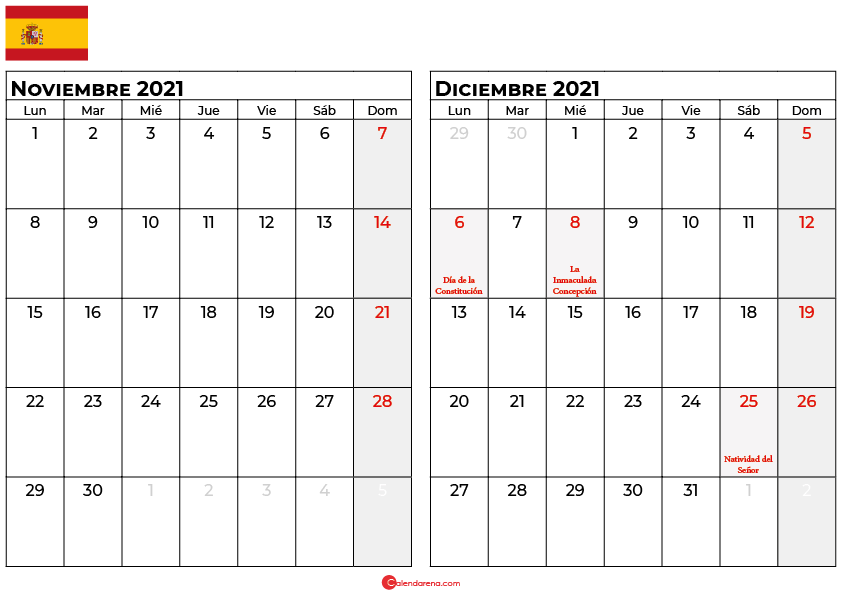calendario noviembre diciembre 2021 espana