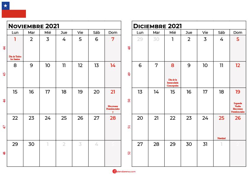 calendario noviembre y diciembre 2021 chilie