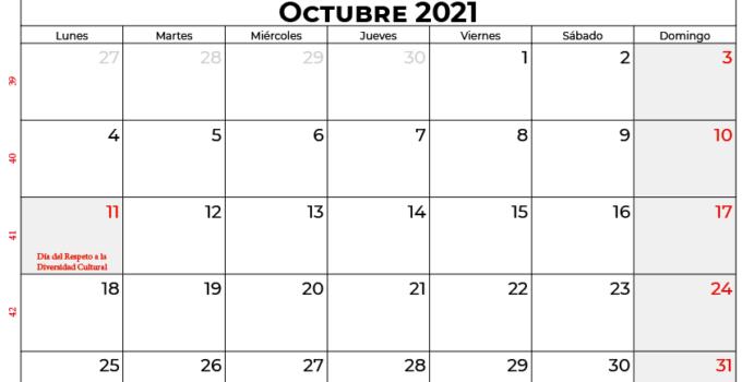 calendario octubre 2021 argentina