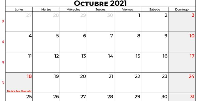 calendario octubre 2021 colombia