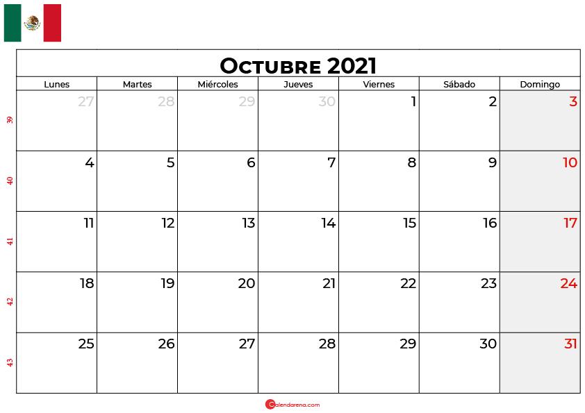 calendario octubre 2021 mexico