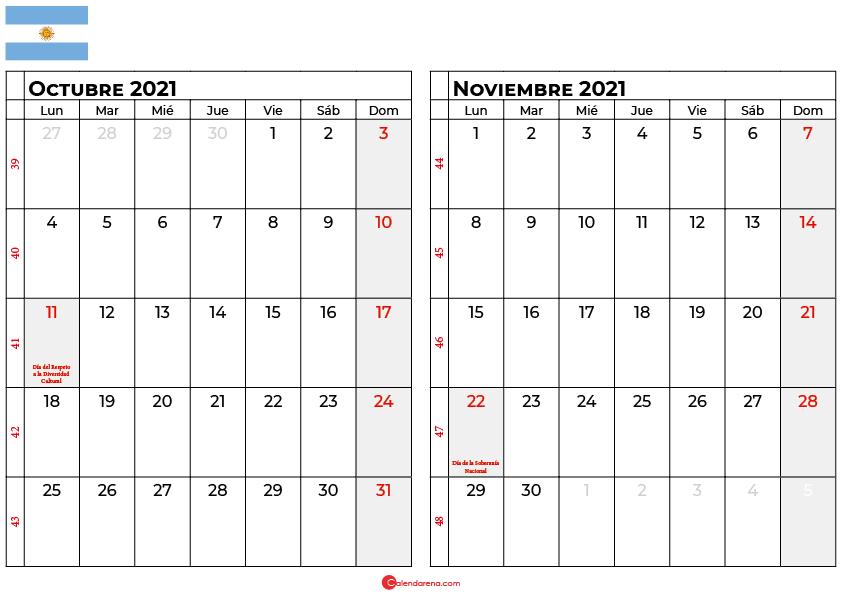 calendario octubre noviembre 2021 argentina