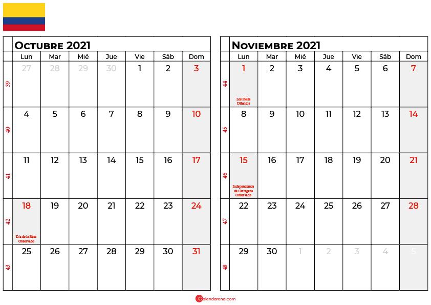 calendario octubre noviembre 2021 colombia