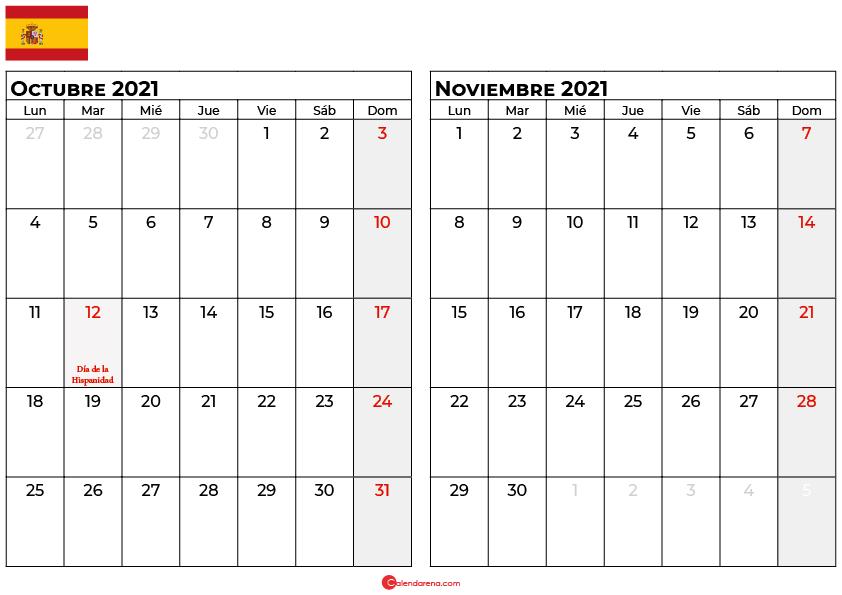 calendario octubre noviembre 2021 espana
