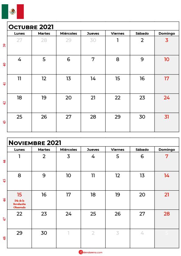 calendario octubre noviembre 2021 mexico